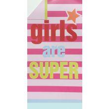 Strandlaken Girls Are Super - 100x180 cm - Fuchsia