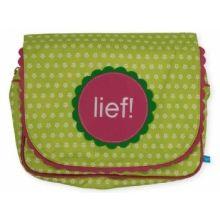 LIEF!  Toiletbag Dots & Flowers - Groen