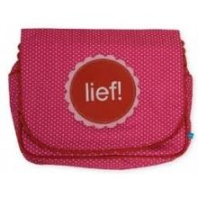 LIEF!  Toiletbag Dots & Flowers - Rood