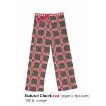 Marieke at Home Long Trouser Natural Check - Rood