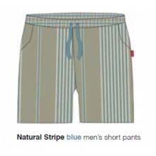 Marieke at Home Short Natural Stripe (men) - Blauw